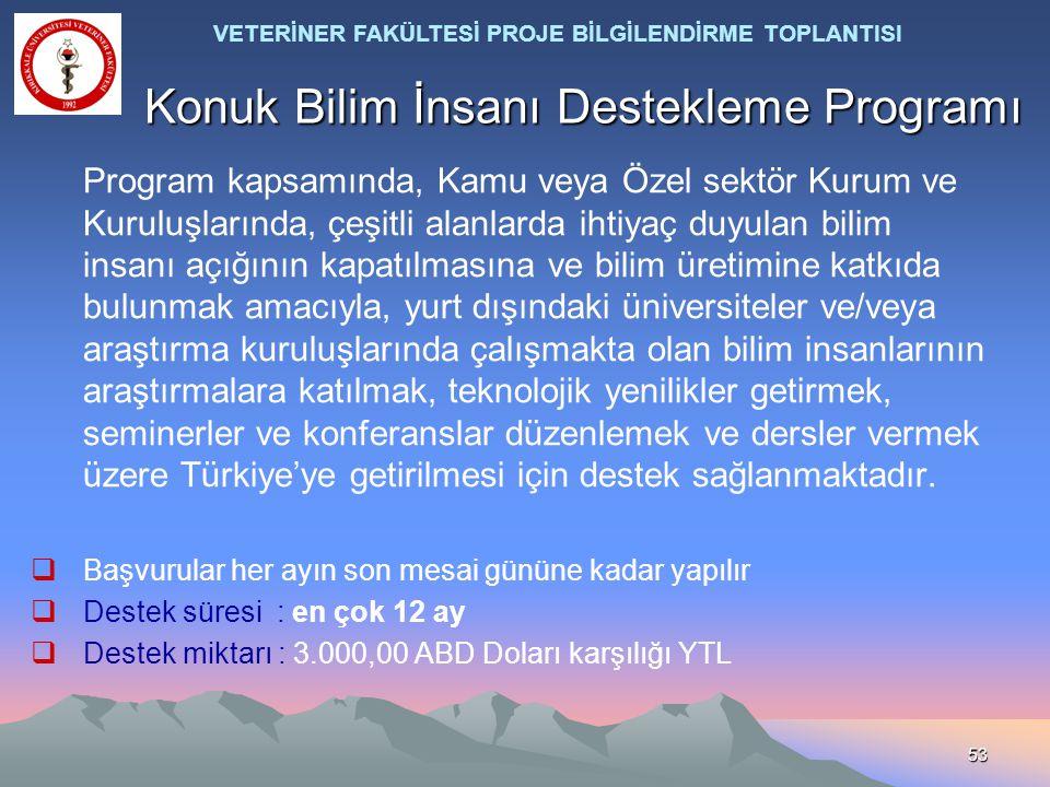 53 Konuk Bilim İnsanı Destekleme Programı Program kapsamında, Kamu veya Özel sektör Kurum ve Kuruluşlarında, çeşitli alanlarda ihtiyaç duyulan bilim i