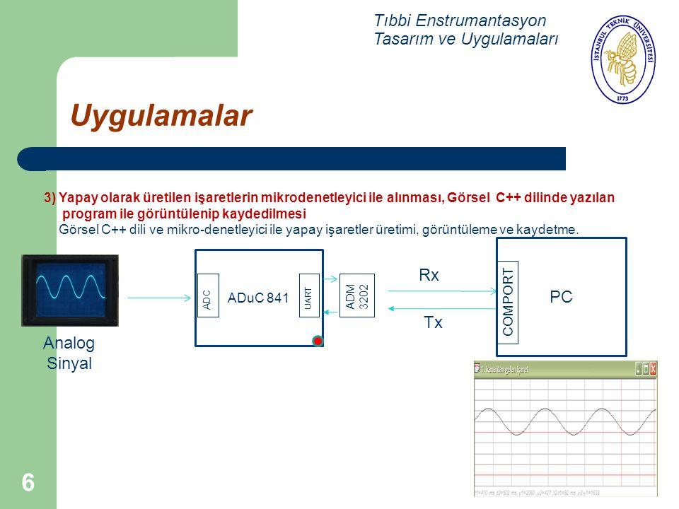 6 Uygulamalar Tıbbi Enstrumantasyon Tasarım ve Uygulamaları 3) Yapay olarak üretilen işaretlerin mikrodenetleyici ile alınması, Görsel C++ dilinde yaz