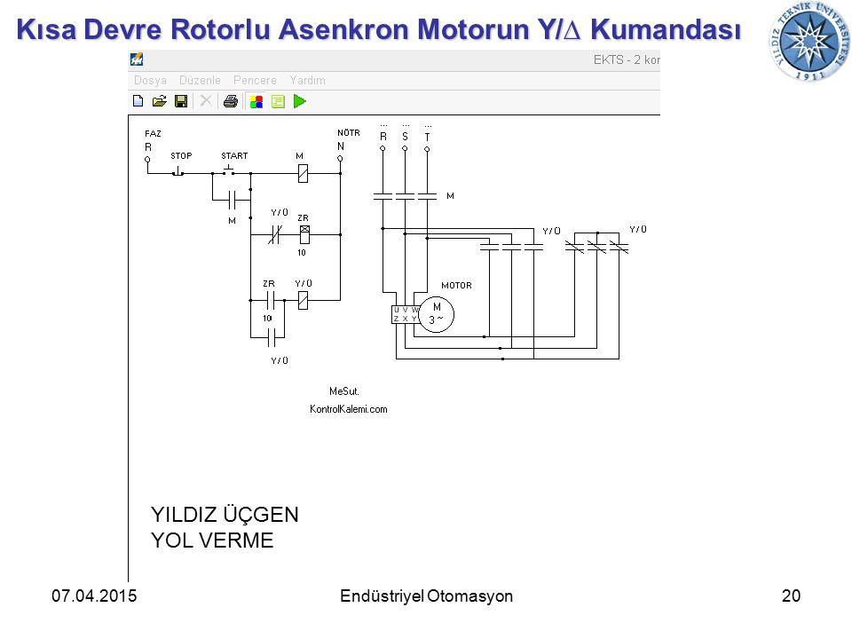 07.04.201520Endüstriyel Otomasyon Kısa Devre Rotorlu Asenkron Motorun Y/∆ Kumandası YILDIZ ÜÇGEN YOL VERME