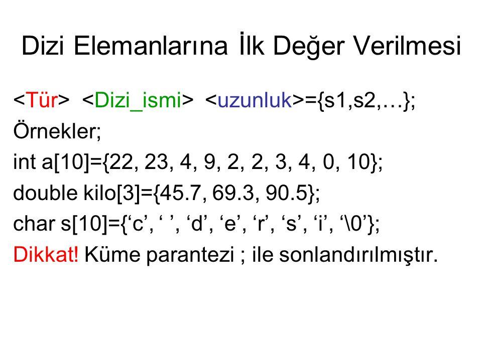 Dizi Elemanlarına İlk Değer Verilmesi ={s1,s2,…}; Örnekler; int a[10]={22, 23, 4, 9, 2, 2, 3, 4, 0, 10}; double kilo[3]={45.7, 69.3, 90.5}; char s[10]