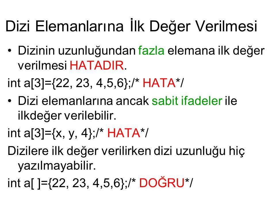 Dizi Elemanlarına İlk Değer Verilmesi Dizinin uzunluğundan fazla elemana ilk değer verilmesi HATADIR. int a[3]={22, 23, 4,5,6};/* HATA*/ Dizi elemanla