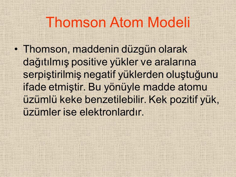 Thomson Atom Modeli Thomson, maddenin düzgün olarak dağıtılmış positive yükler ve aralarına serpiştirilmiş negatif yüklerden oluştuğunu ifade etmiştir
