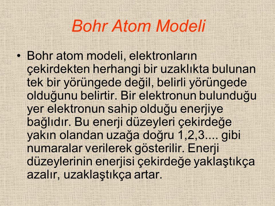 Bohr Atom Modeli Bohr atom modeli, elektronların çekirdekten herhangi bir uzaklıkta bulunan tek bir yörüngede değil, belirli yörüngede olduğunu belirt