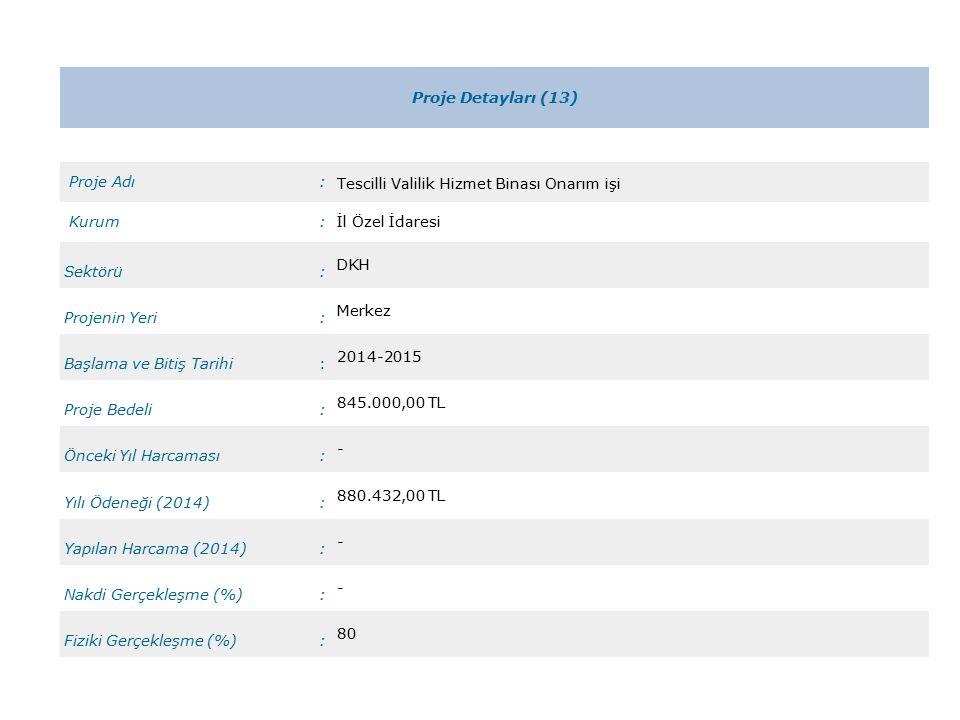 Proje Detayları (13) Proje Adı: Tescilli Valilik Hizmet Binası Onarım işi Kurum:İl Özel İdaresi Sektörü: DKH Projenin Yeri: Merkez Başlama ve Bitiş Tarihi: 2014-2015 Proje Bedeli: 845.000,00 TL Önceki Yıl Harcaması: - Yılı Ödeneği (2014): 880.432,00 TL Yapılan Harcama (2014): - Nakdi Gerçekleşme (%): - Fiziki Gerçekleşme (%): 80