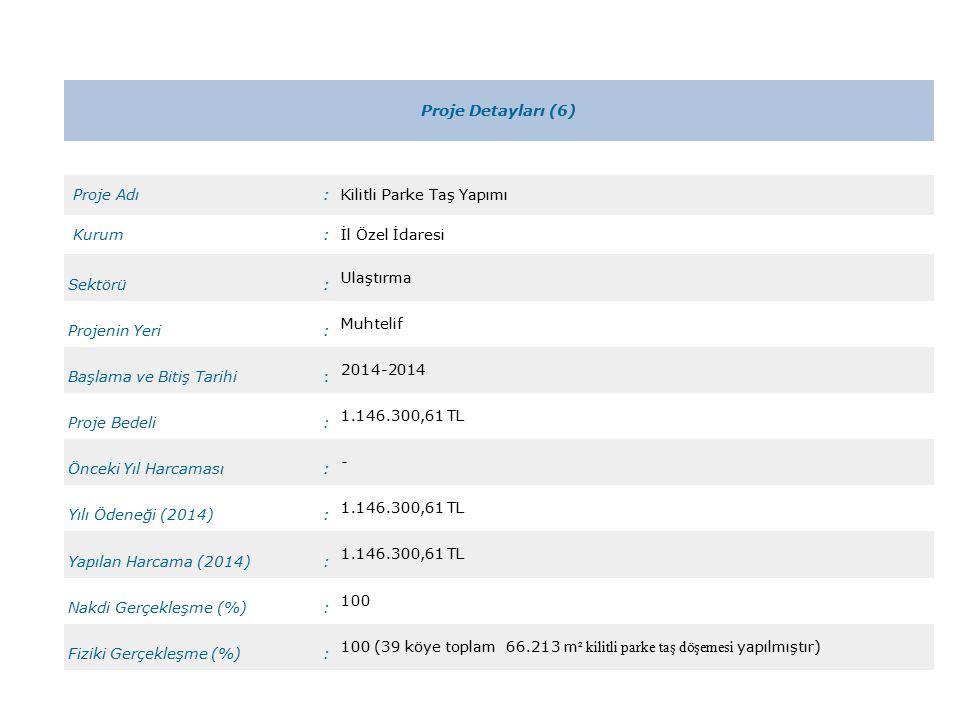 Proje Detayları (6) Proje Adı:Kilitli Parke Taş Yapımı Kurum:İl Özel İdaresi Sektörü: Ulaştırma Projenin Yeri: Muhtelif Başlama ve Bitiş Tarihi: 2014-2014 Proje Bedeli: 1.146.300,61 TL Önceki Yıl Harcaması: - Yılı Ödeneği (2014): 1.146.300,61 TL Yapılan Harcama (2014): 1.146.300,61 TL Nakdi Gerçekleşme (%): 100 Fiziki Gerçekleşme (%): 100 (39 köye toplam 66.213 m ² kilitli parke taş döşemesi yapılmıştır)