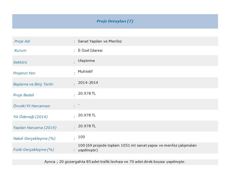 Proje Detayları (7) Proje Adı:Sanat Yapıları ve Menfez Kurum:İl Özel İdaresi Sektörü: Ulaştırma Projenin Yeri: Muhtelif Başlama ve Bitiş Tarihi: 2014-2014 Proje Bedeli: 20.978 TL Önceki Yıl Harcaması: - Yılı Ödeneği (2014): 20.978 TL Yapılan Harcama (2014): 20.978 TL Nakdi Gerçekleşme (%): 100 Fiziki Gerçekleşme (%): 100 (69 projede toplam 1051 mt sanat yapısı ve menfez çalışmaları yapılmıştır) Ayrıca ; 20 güzergahta 85 adet trafik levhası ve 70 adet direk boyası yapılmıştır.