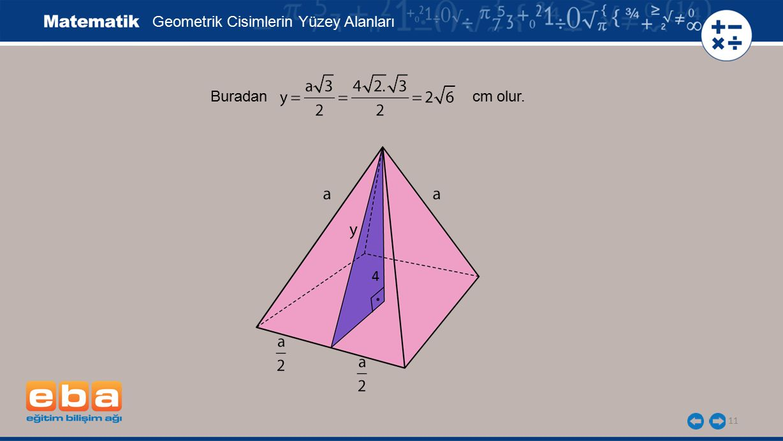 11 Geometrik Cisimlerin Yüzey Alanları 4 Buradan cm olur.