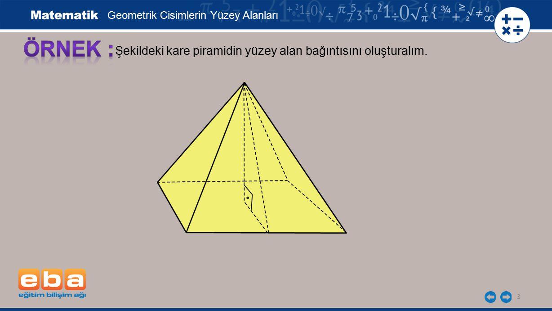 14 Piramidin tüm yüzleri eşkenar üçgen olduğu için bir eşkenar üçgensel bölgenin alanını bulup 4 ile çarpalım.
