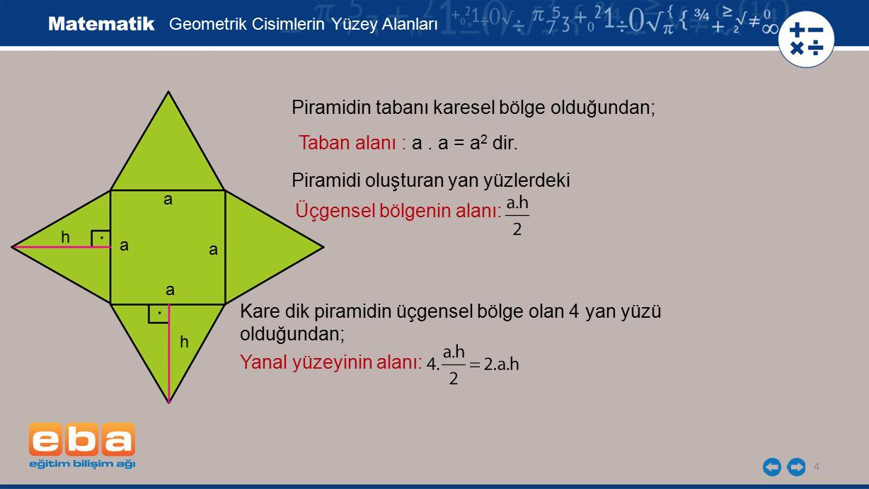 5 Geometrik Cisimlerin Yüzey Alanları Piramidin yüzey alanı, taban alanı ile yanal yüzlerinin alanları toplamı olduğundan şekildeki kare dik piramit için yüzey alan bağıntısı a 2 + 2.a.h olur.