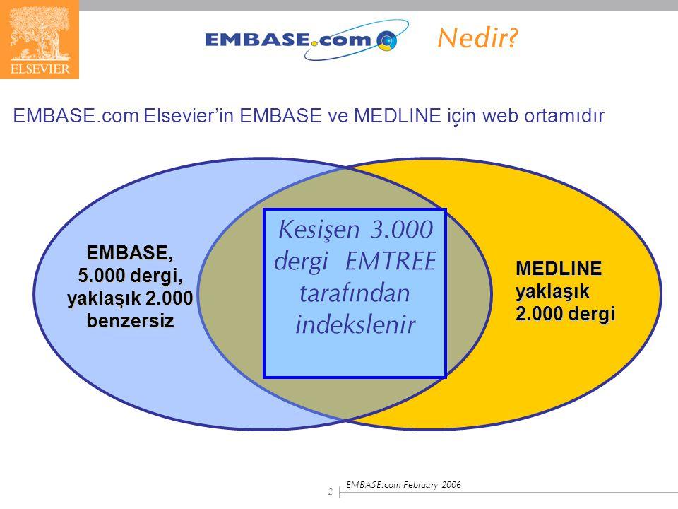 EMBASE.com February 2006 3  Kapsamlı, güncel farmasötik ve biyomedikal literatüre erişim kaynağı  18 milyondan fazla EMBASE ve MEDLINE kayıtları; mükerrer kayıtlar temizlenmiş; 1966'dan günümüze  Günlük yenileme; her gün yaklaşık 2,000 kayıt eklenir  600.000 yıllık eklenen kayıt sayısı  70 ülkeden 7.000'den fazla dergi indekslenir EMBASE.com içerik