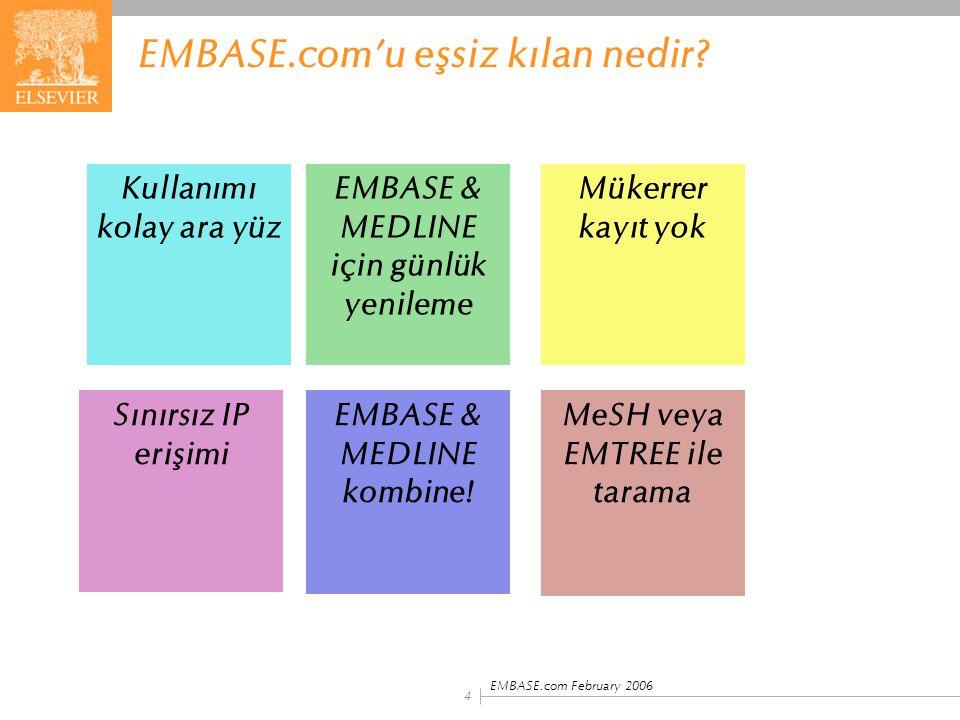 EMBASE.com February 2006 4 EMBASE.com'u eşsiz kılan nedir? Kullanımı kolay ara yüz MeSH veya EMTREE ile tarama EMBASE & MEDLINE kombine! Sınırsız IP e