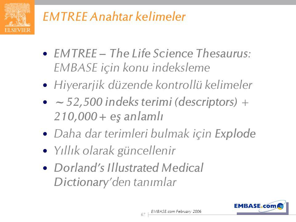 EMBASE.com February 2006 67 EMTREE Anahtar kelimeler EMTREE – The Life Science Thesaurus: EMBASE için konu indeksleme Hiyerarjik düzende kontrollü kel