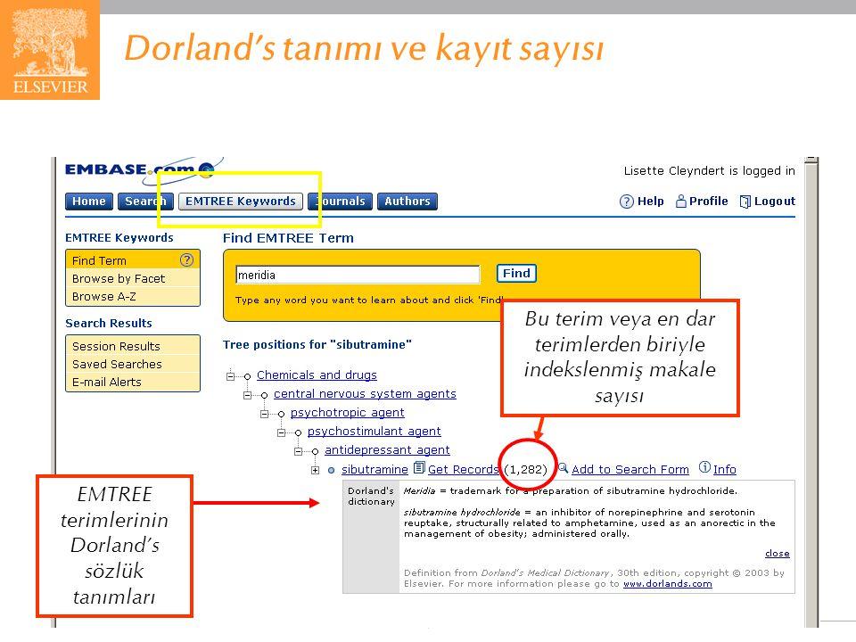EMBASE.com February 2006 68 Dorland's tanımı ve kayıt sayısı Bu terim veya en dar terimlerden biriyle indekslenmiş makale sayısı EMTREE terimlerinin D
