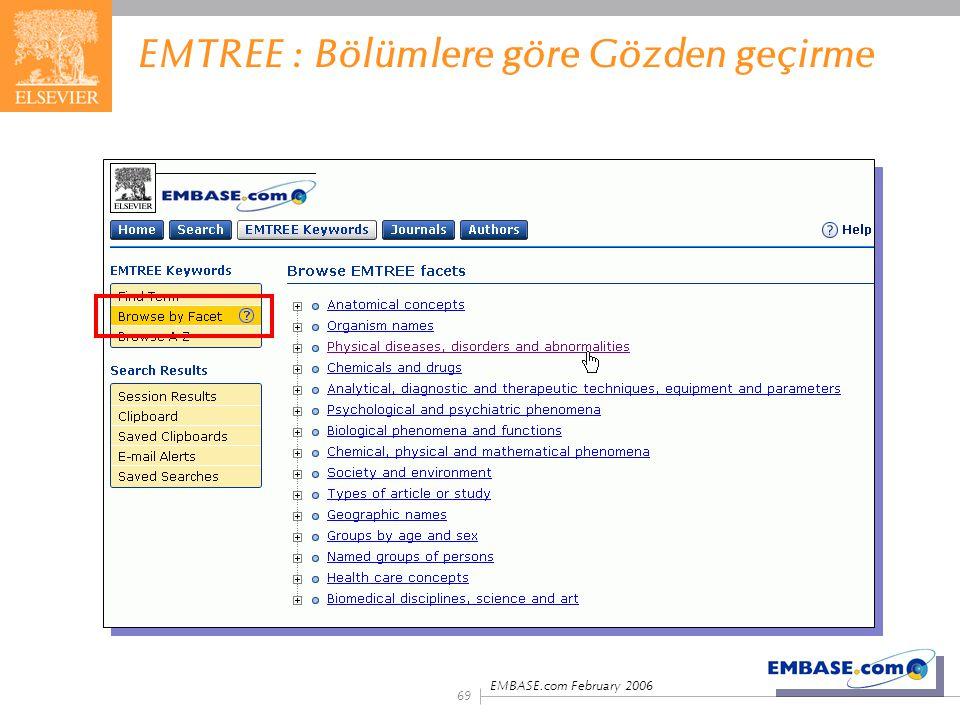 EMBASE.com February 2006 69 EMTREE : Bölümlere göre Gözden geçirme