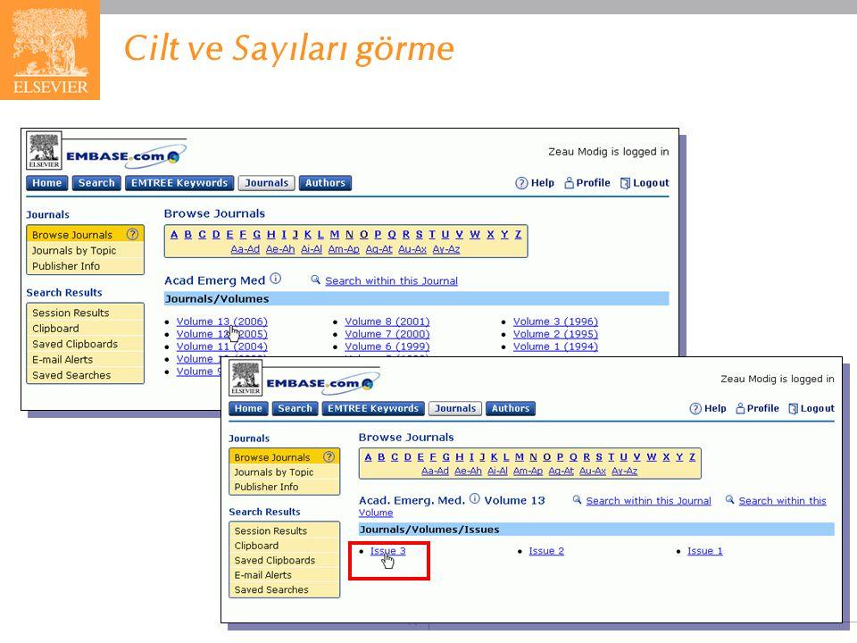 EMBASE.com February 2006 77 Cilt ve Sayıları görme