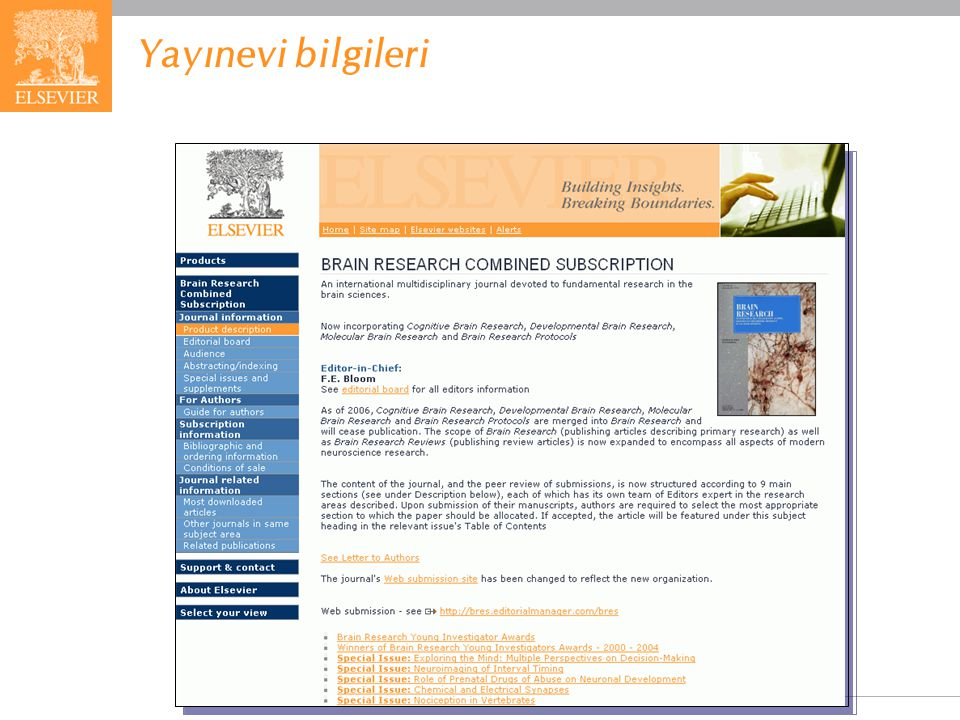 EMBASE.com February 2006 85 Yayınevi bilgileri