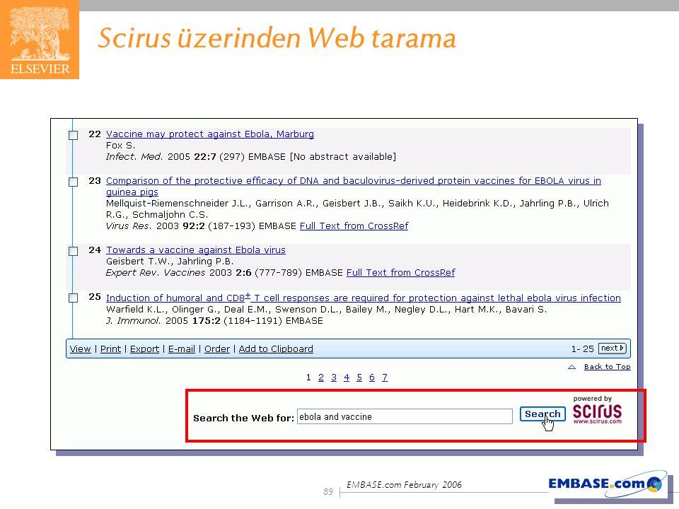 EMBASE.com February 2006 89 Scirus üzerinden Web tarama