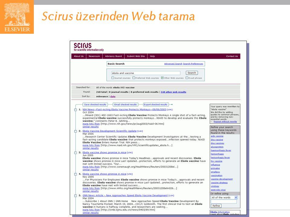 EMBASE.com February 2006 90 Scirus üzerinden Web tarama