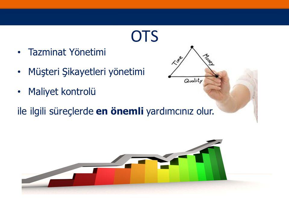 OTS Tazminat Yönetimi Müşteri Şikayetleri yönetimi Maliyet kontrolü ile ilgili süreçlerde en önemli yardımcınız olur.