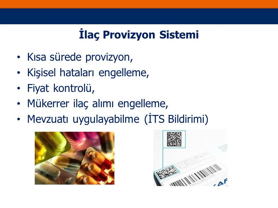 İlaç Provizyon Sistemi Kısa sürede provizyon, Kişisel hataları engelleme, Fiyat kontrolü, Mükerrer ilaç alımı engelleme, Mevzuatı uygulayabilme (İTS Bildirimi)