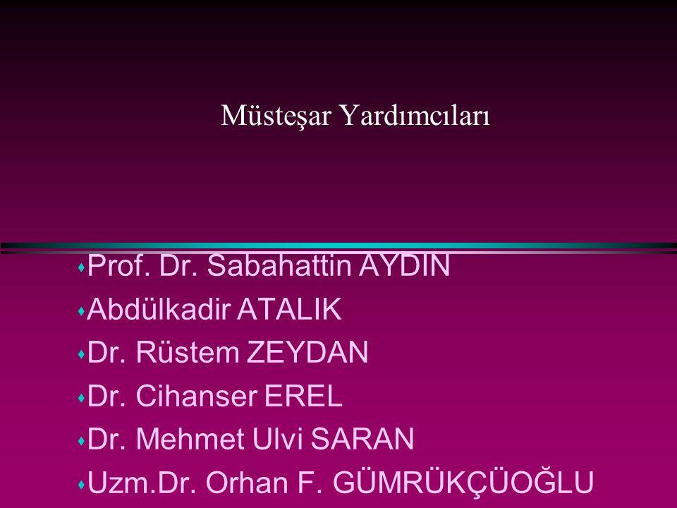 Müsteşar Yardımcıları s Prof. Dr. Sabahattin AYDIN s Abdülkadir ATALIK s Dr. Rüstem ZEYDAN s Dr. Cihanser EREL s Dr. Mehmet Ulvi SARAN s Uzm.Dr. Orhan