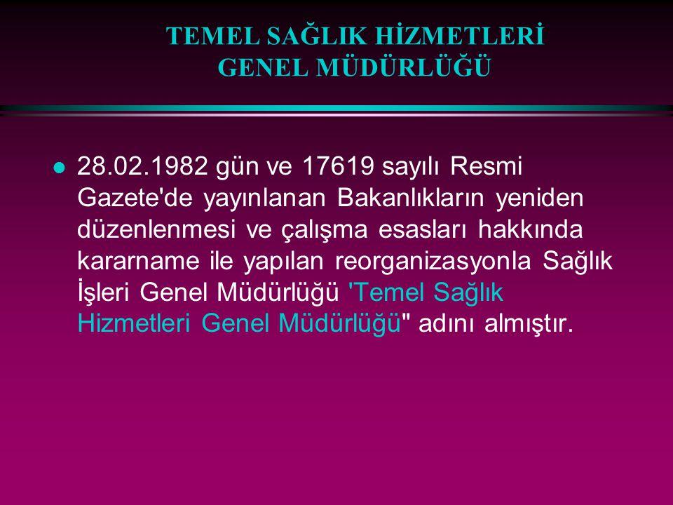 TEMEL SAĞLIK HİZMETLERİ GENEL MÜDÜRLÜĞÜ l 28.02.1982 gün ve 17619 sayılı Resmi Gazete'de yayınlanan Bakanlıkların yeniden düzenlenmesi ve çalışma esas