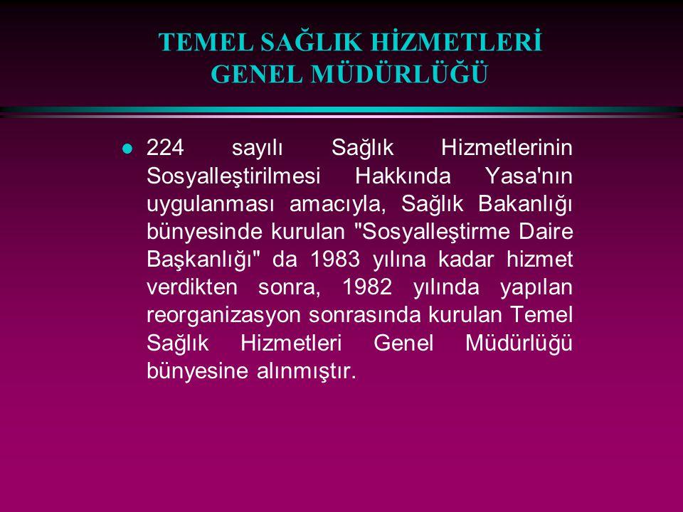 TEMEL SAĞLIK HİZMETLERİ GENEL MÜDÜRLÜĞÜ l 224 sayılı Sağlık Hizmetlerinin Sosyalleştirilmesi Hakkında Yasa'nın uygulanması amacıyla, Sağlık Bakanlığı