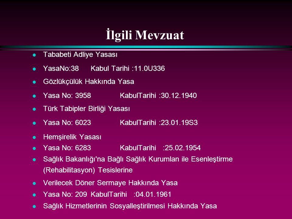 İlgili Mevzuat l Tababeti Adliye Yasası l YasaNo:38Kabul Tarihi :11.0U336 l Gözlükçülük Hakkında Yasa l Yasa No: 3958KabulTarihi :30.12.1940 l Türk Ta