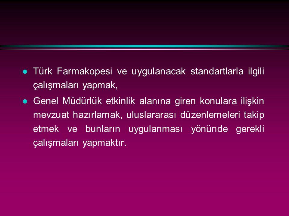 l Türk Farmakopesi ve uygulanacak standartlarla ilgili çalışmaları yapmak, l Genel Müdürlük etkinlik alanına giren konulara ilişkin mevzuat hazırlamak