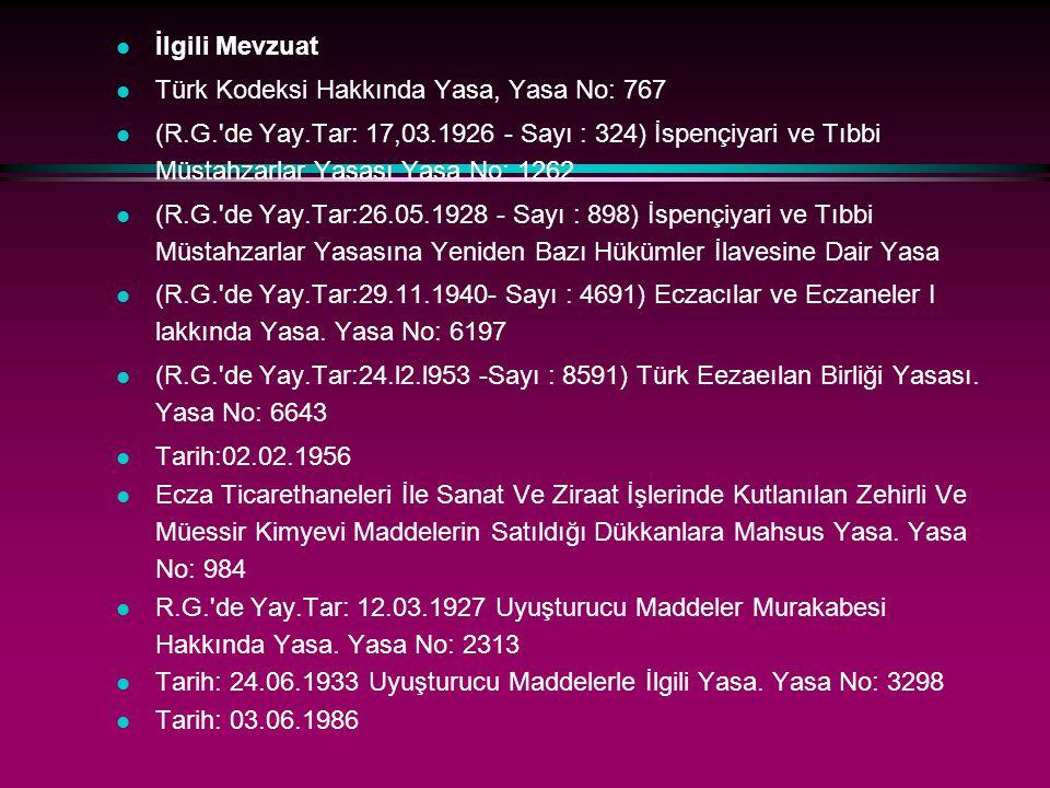 l İlgili Mevzuat l Türk Kodeksi Hakkında Yasa, Yasa No: 767 l (R.G.'de Yay.Tar: 17,03.1926 - Sayı : 324) İspençiyari ve Tıbbi Müstahzarlar Yasası Yasa