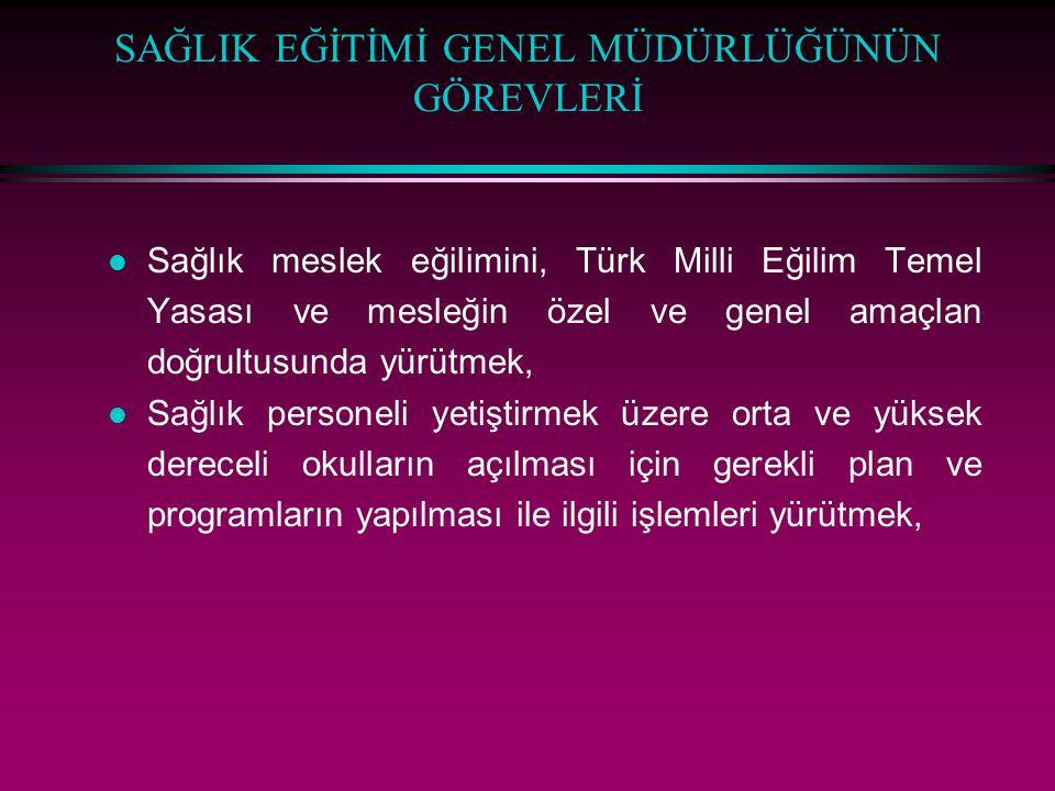 SAĞLIK EĞİTİMİ GENEL MÜDÜRLÜĞÜNÜN GÖREVLERİ l Sağlık meslek eğilimini, Türk Milli Eğilim Temel Yasası ve mesleğin özel ve genel amaçlan doğrultusunda