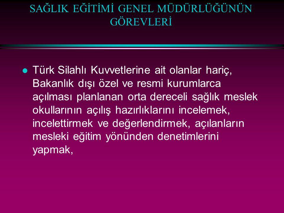 SAĞLIK EĞİTİMİ GENEL MÜDÜRLÜĞÜNÜN GÖREVLERİ l Türk Silahlı Kuvvetlerine ait olanlar hariç, Bakanlık dışı özel ve resmi kurumlarca açılması planlanan o