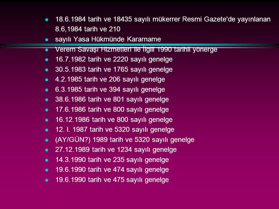 l 18.6.1984 tarih ve 18435 sayılı mükerrer Resmi Gazete'de yayınlanan 8.6,1984 tarih ve 210 l sayılı Yasa Hükmünde Kararname l Verem Savaşı Hizmetleri
