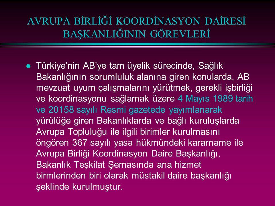 AVRUPA BİRLİĞİ KOORDİNASYON DAİRESİ BAŞKANLIĞININ GÖREVLERİ l Türkiye'nin AB'ye tam üyelik sürecinde, Sağlık Bakanlığının sorumluluk alanına giren kon