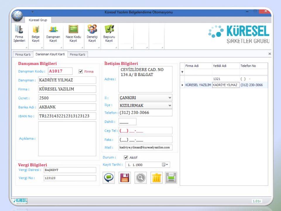 Belgelendirme Süreç Yönetim Sistemi Danışmanlarınızı kayıt edebilirsiniz.