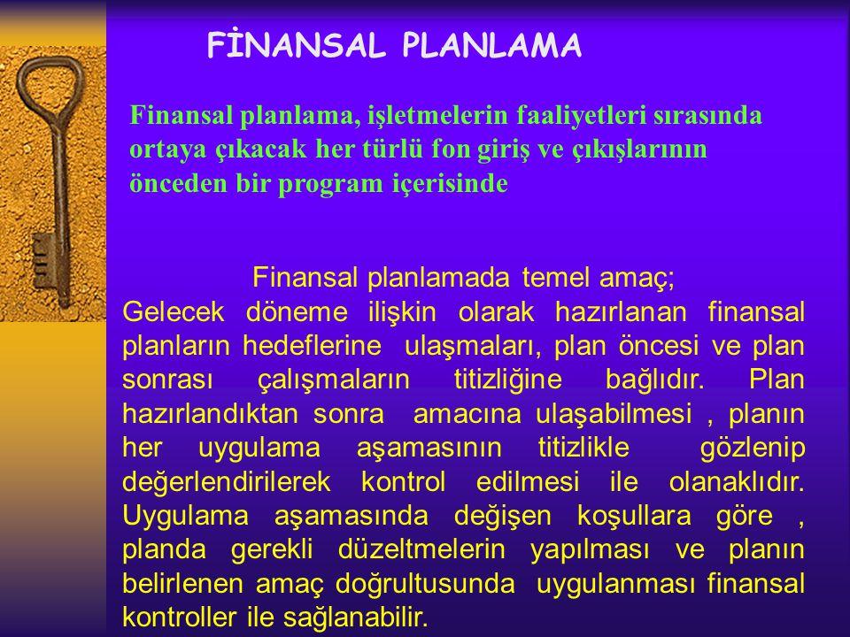 FİNANSAL PLANLAMA Gelecek döneme ilişkin olarak hazırlanan finansal planların hedeflere ulaşmaları, plan öncesi ve sonrası çalışmaların titizliğine bağlıdır.
