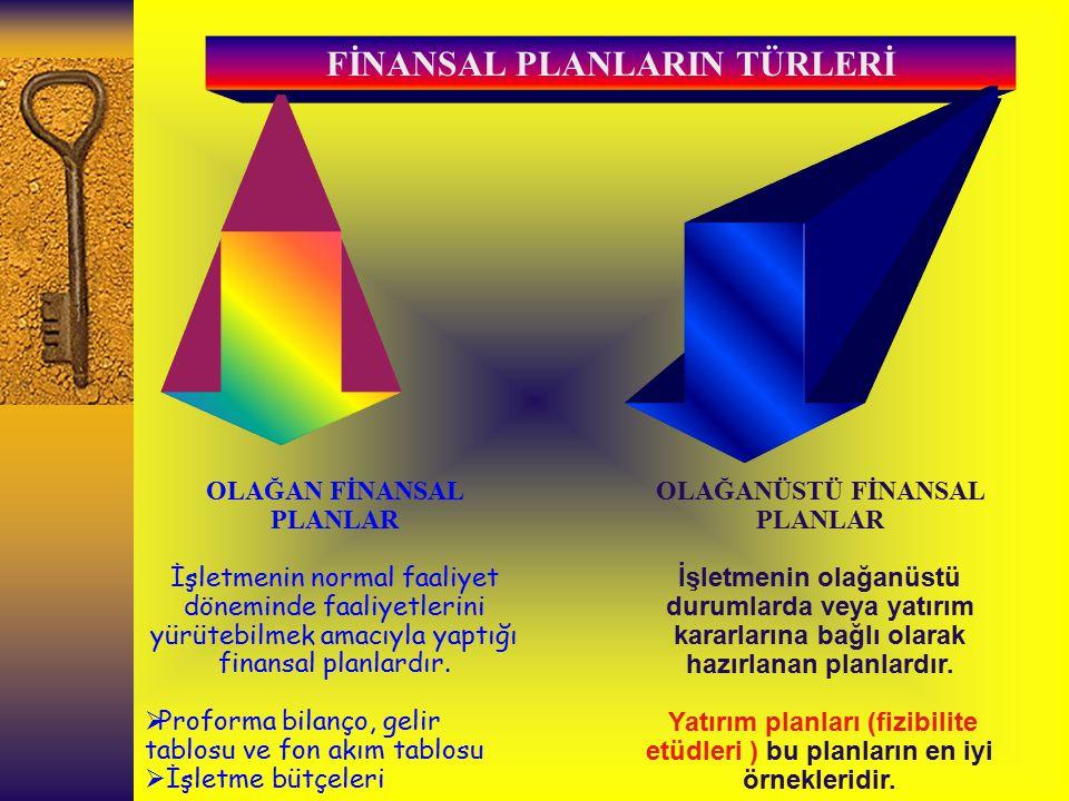 FİNANSAL PLANLARIN TÜRLERİ OLAĞAN FİNANSAL PLANLAR İşletmenin normal faaliyet döneminde faaliyetlerini yürütebilmek amacıyla yaptığı finansal planlard