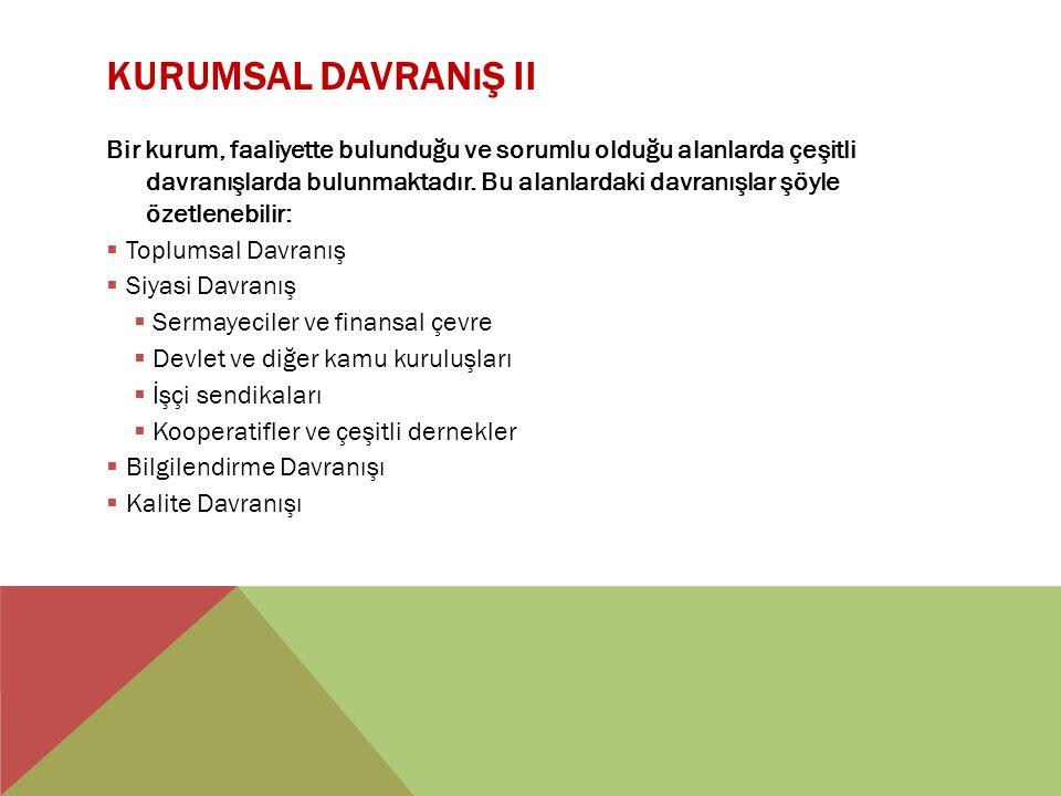 KURUMSAL DAVRANıŞ II Bir kurum, faaliyette bulunduğu ve sorumlu olduğu alanlarda çeşitli davranışlarda bulunmaktadır. Bu alanlardaki davranışlar şöyle