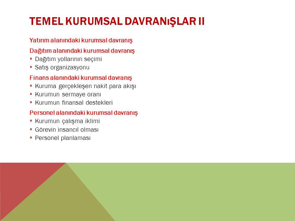 TEMEL KURUMSAL DAVRANıŞLAR II Yatırım alanındaki kurumsal davranış Dağıtım alanındaki kurumsal davranış  Dağıtım yollarının seçimi  Satış organizasy