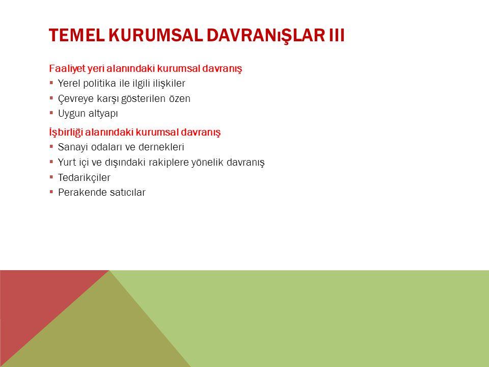 TEMEL KURUMSAL DAVRANıŞLAR III Faaliyet yeri alanındaki kurumsal davranış  Yerel politika ile ilgili ilişkiler  Çevreye karşı gösterilen özen  Uygu