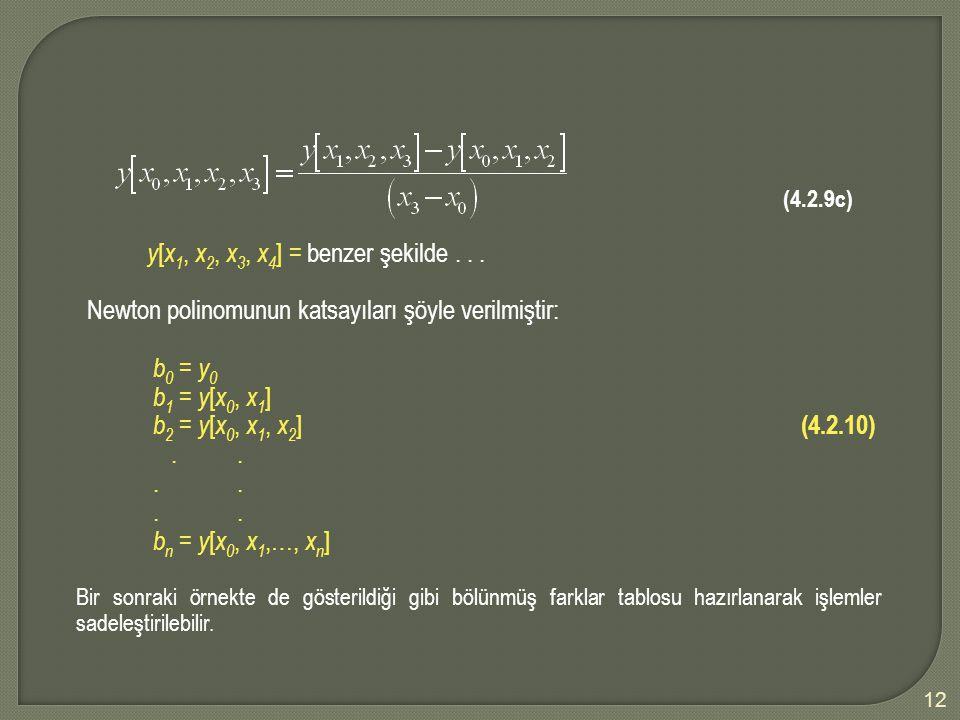 12 (4.2.9c) y [ x 1, x 2, x 3, x 4 ] = benzer şekilde... Newton polinomunun katsayıları şöyle verilmiştir: b 0 = y 0 b 1 = y [ x 0, x 1 ] b 2 = y [ x