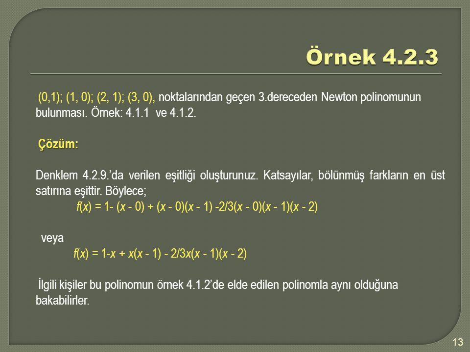 13 (0,1); (1, 0); (2, 1); (3, 0), noktalarından geçen 3.dereceden Newton polinomunun bulunması. Örnek: 4.1.1 ve 4.1.2. Çözüm: Çözüm: Denklem 4.2.9.'da