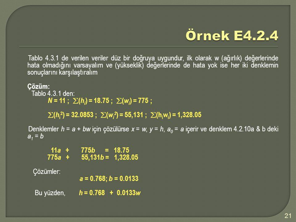 Tablo 4.3.1 de verilen veriler düz bir doğruya uygundur, ilk olarak w (ağırlık) değerlerinde hata olmadığını varsayalım ve (yükseklik) değerlerinde de hata yok ise her iki denklemin sonuçlarını karşılaştıralım Çözüm: Tablo 4.3.1 den: N = 11 ;  ( h i ) = 18.75 ;  ( w i ) = 775 ;  ( h i 2 ) = 32.0853 ;  ( w i 2 ) = 55,131 ;  (h i w i ) = 1,328.05 Denklemler h = a + bw için çözülürse x = w, y = h, a 0 = a içerir ve denklem 4.2.10a & b deki a 1 = b 11 a + 775 b = 18.75 775 a + 55,131 b = 1,328.05 Çözümler: a = 0.768; b = 0.0133 Bu yüzden, h = 0.768 + 0.0133 w 21