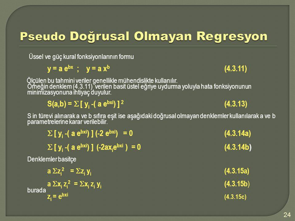 Üssel ve güç kural fonksiyonlarının formu y = a e bx ; y = a x b (4.3.11) Ölçülen bu tahmini veriler genellikle mühendislikte kullanılır. Örneğin denk