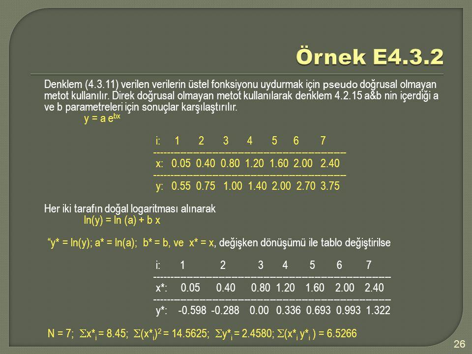 Denklem (4.3.11) verilen verilerin üstel fonksiyonu uydurmak için pseudo doğrusal olmayan metot kullanılır.