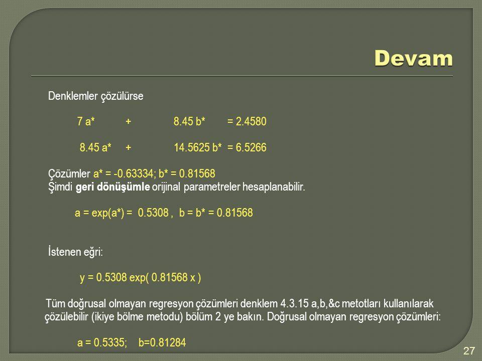 Denklemler çözülürse 7 a*+8.45 b* = 2.4580 8.45 a* + 14.5625 b* = 6.5266 Çözümler a* = -0.63334; b* = 0.81568 Şimdi geri dönüşümle orijinal parametreler hesaplanabilir.