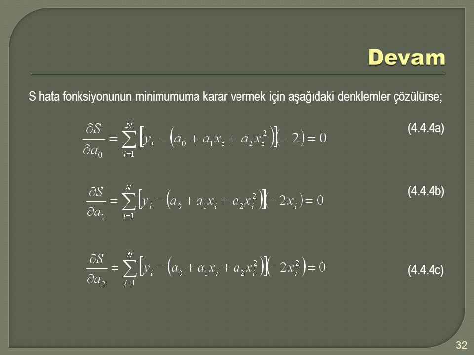 S hata fonksiyonunun minimumuma karar vermek için aşağıdaki denklemler çözülürse; (4.4.4a) (4.4.4b) (4.4.4c) 32