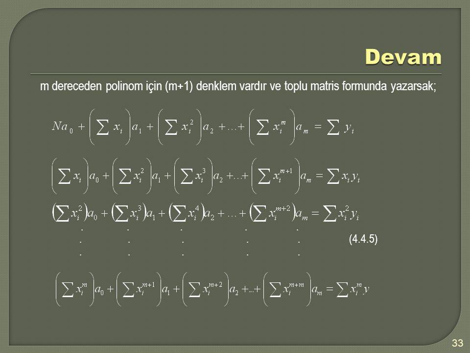 m dereceden polinom için (m+1) denklem vardır ve toplu matris formunda yazarsak;.......... (4.4.5)..... 33