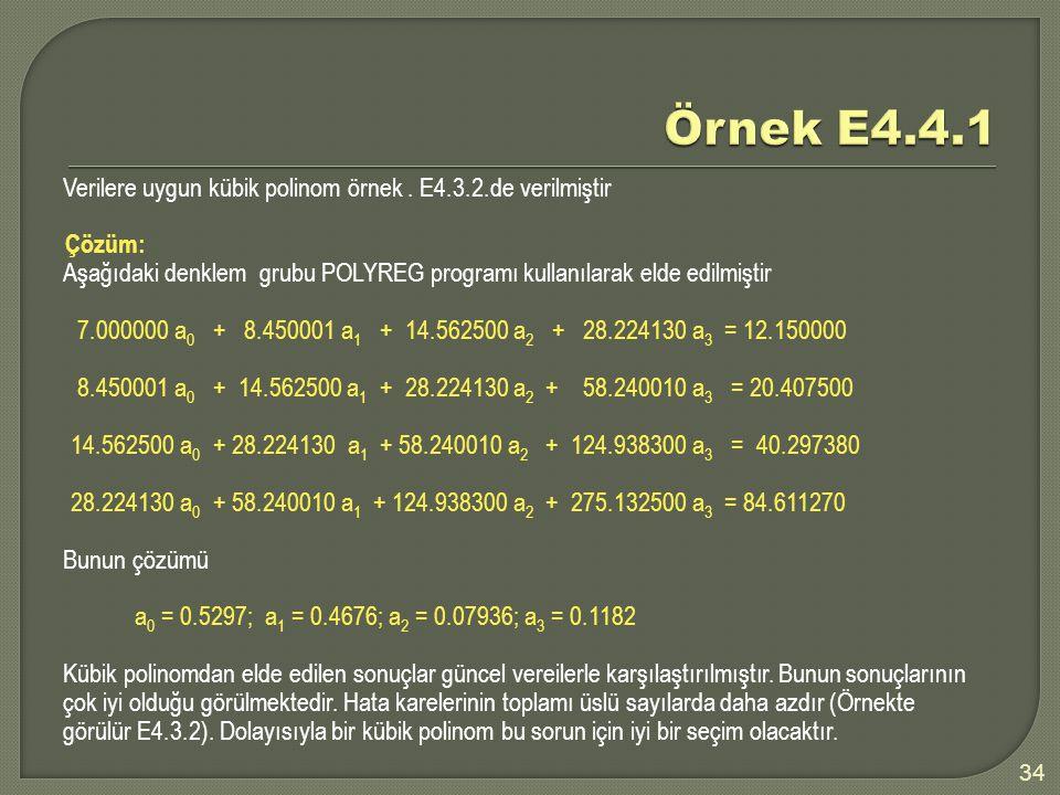 34 Verilere uygun kübik polinom örnek. E4.3.2.de verilmiştir Çözüm: Aşağıdaki denklem grubu POLYREG programı kullanılarak elde edilmiştir 7.000000 a 0