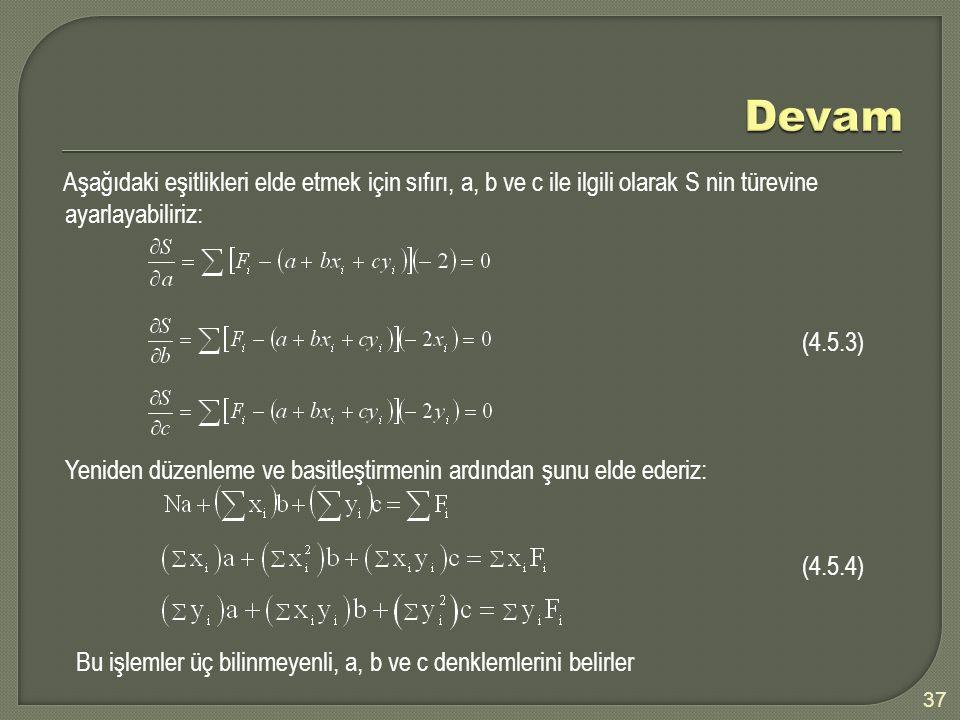 37 Aşağıdaki eşitlikleri elde etmek için sıfırı, a, b ve c ile ilgili olarak S nin türevine ayarlayabiliriz: (4.5.3) Yeniden düzenleme ve basitleştirmenin ardından şunu elde ederiz: (4.5.4) Bu işlemler üç bilinmeyenli, a, b ve c denklemlerini belirler